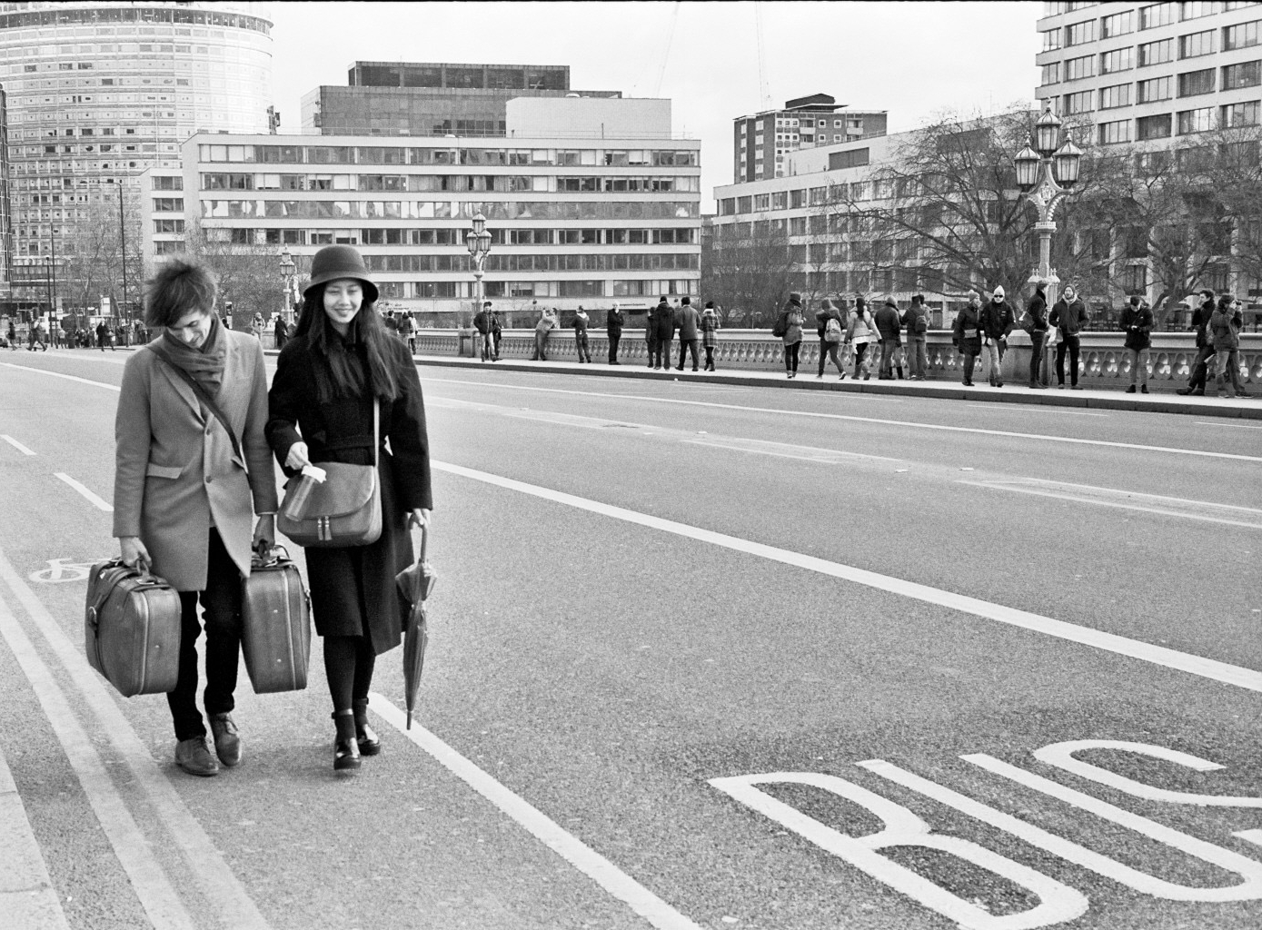 Young hipster couple walking through time