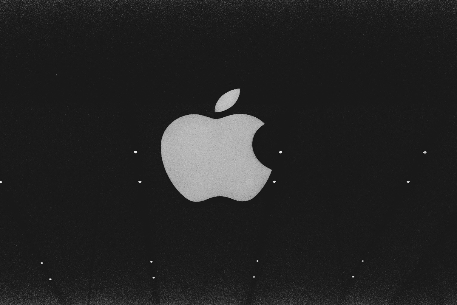 Apple logo Brussels store in black and white